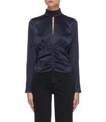 felicity' ruched waist high neck silk blouse
