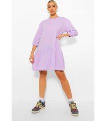 sweatshirt jurk met pofmouwen en losvallende zoom, lilac