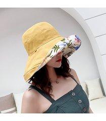 verano de algodón de lino de ala ancha sombreros del cubo para las mujeres