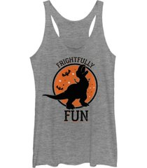 fifth sun disney pixar women's toy story rex frightfully fun tri-blend tank top