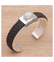 rainbow moonstone and leather cuff bracelet, 'strength and femininity' (indonesia)