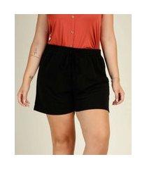 short plus size feminino cintura alta amarração marisa