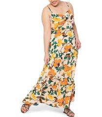 plus size women's eloquii floral twist front maxi dress