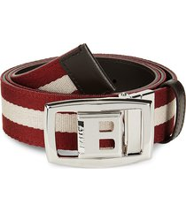 bally men's striped logo buckle belt - coffee - size 42