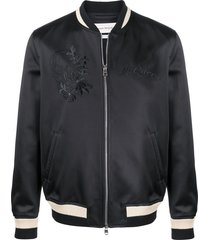 alexander mcqueen embroidered bomber jacket - black