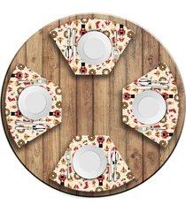 jogo americano   para mesa redonda wevans quebra nozes natalino  love decor - multicolorido - dafiti