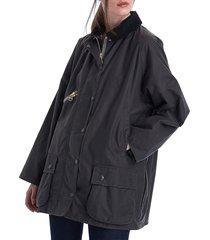 women's barbour x alexa chung edith waxed cotton jacket - charcoal - size 12