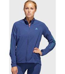 chaqueta adidas performance runr jacket w azul - calce regular