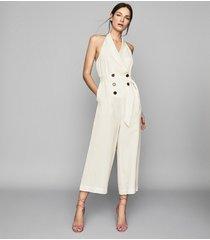 reiss giovanna - halterneck jumpsuit in buttermilk, womens, size 10