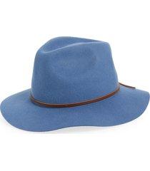 men's brixton wesley packable felted wool fedora - blue