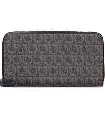 salvatore ferragamo men's coated canvas wallet - black grey