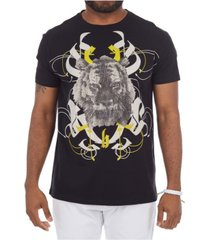 heads or tails 3d graphic printed angry tiger rhinestone studded t-shirt