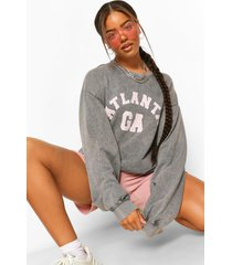 acid wash oversized atlanta sweatshirt, charcoal