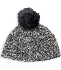 portolano women's faux fur-trim pom-pom cashmere beanie - black grey