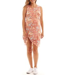 women's everly grey marta floral maternity/nursing dress, size x-large - orange