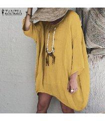 zanzea verano de las mujeres de gran tamaño mini vestido de tirantes para mujeres de algodón del tamaño vestido suelto -amarillo