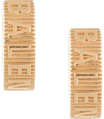 balenciaga force striped earrings - gold