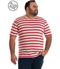 camiseta decote v vermelho