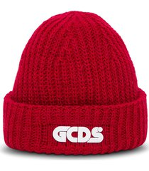 gcds giuly red hat in wool blend with logo