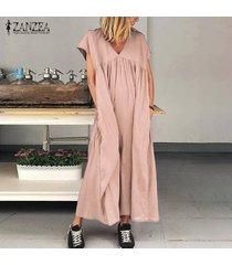 zanzea las mujeres de manga corta con cuello en v vestido del algodón vestidos largos kaftan floja ocasional -rosado