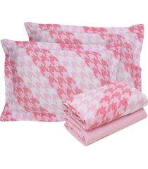 jogo de cama  queen pointer rosa malha rosa - rosa - dafiti