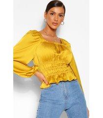 satin shirred waist square neck blouse, mustard