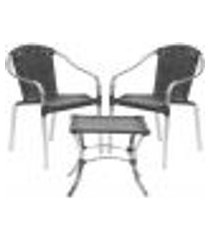 jogo cadeiras 2un e mesa de centro pinheiro para edicula jardim area varanda descanso - preto