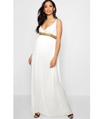 maternity embroidered strappy maxi dress, ivory