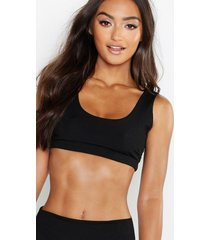 petite mix and match ribbed crop bikini top, black