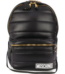 moschino quilted concealed hood backpack - black