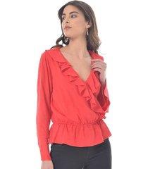 blusa para mujer en rayon rojo color-rojo-talla-xl