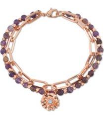 unwritten genuine amethyst fine plated silver double strand crystal flower charm link bracelet