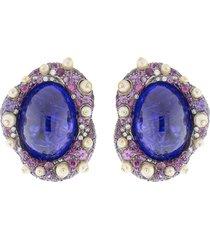 cabochon tanzanite stud earrings
