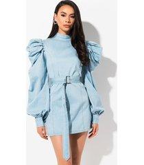 akira take it or leave it denim long sleeve mini dress
