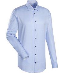 jacques britt heren overhemd como licht stippen boord twill custom fit blauw
