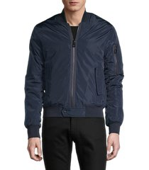 eleven paris men's solid bomber jacket - dark indigo - size s