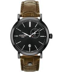 roamer men's 2 hands date 42 mm dress watch in steel case on green strap