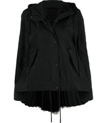 red valentino tulle panel hooded jacket - black