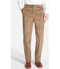 men's berle flat front classic fit corduroy trousers, size 38 x unhemmed - beige