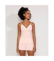short doll feminino com renda rosa claro