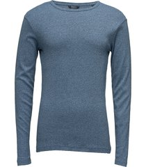 basic tee o-neck l/s t-shirts long-sleeved blå lindbergh