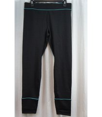 jockey sport leggings sz l black blue athletic sporty stay cool leggings