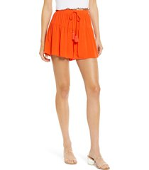 women's love, fire ruffled tiered shorts, size medium - orange