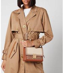 coach women's signature colorblock leather hutton shoulder bag - tan ivory multi