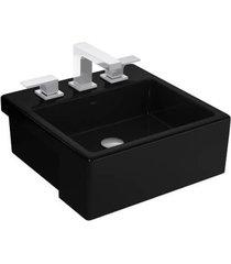 cuba de semi-encaixe quadrada ébano com mesa 42cm l830 - deca - deca