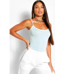 tall contrast trim tank top, mint