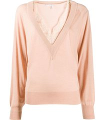 pink v-neck lace knit top