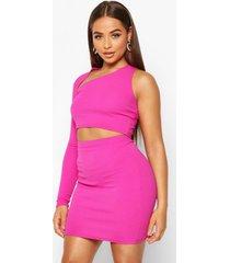 asymetric one shoulder top & skirt co-ord set, hot pink