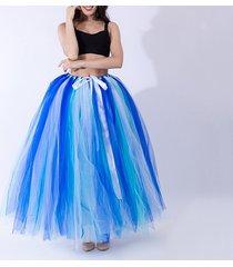 summer multi-color puffy tulle skirt rainbow tutu costume maxi petticoat-onesize