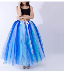 summer multi-color puffy tulle skirt rainbow tutu costume maxi petticoat-onesize
